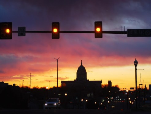 Oklahoma State Capitol at Sunset on Lottie Avenue