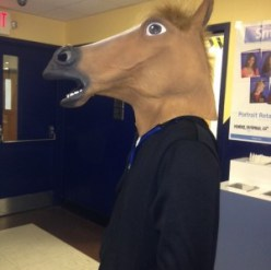 Thomas Wisker purchased his horse mask online and appears unrecognizable to other students and teachers.