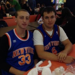 Juniors Evan Birns (left) and Michael Silberg support the New York Knicks by dressing as their favorite basketball players.