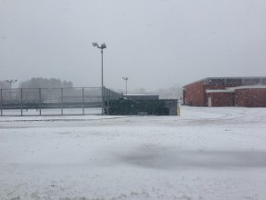 The Jericho High School campus under snow.