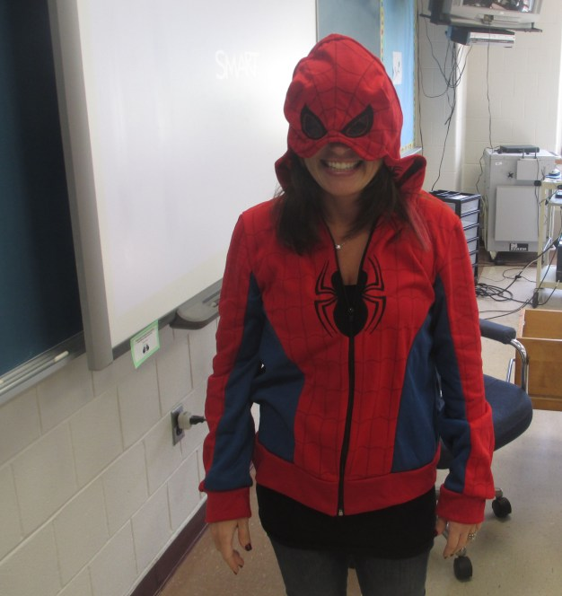 "Everyone stay far away from Ms. Kahan! She is Spiderman. Following her grand transformation, we the people have proclaimed her ""Most Likely to Be Featured in a Marvel Comic Book."""