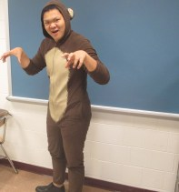 "Edward Tan exemplifies the fierce attitude of a monkey, thereby winning ""Best Animal Costume."" Congrats, Ed!"