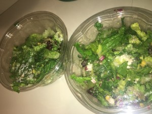 We custom made our salads with romaine lettuce, corn, feta cheese, beets, avocado, and spicy Mexican Goddess dressing.