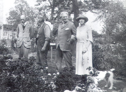 Jerome K Jerome and friends in his garden in Wallingford