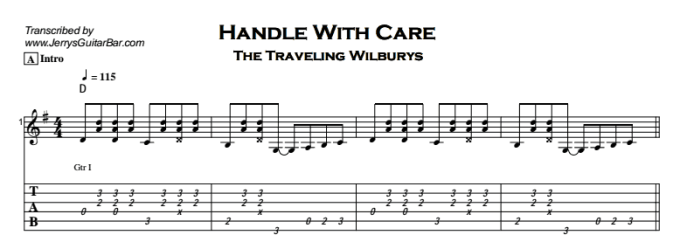 Traveling Wilburys Handle With Care Tablature Joshymomo