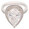 Platinum 5.58ct Pear Shape Diamond and Diamond Shoulders Cluster Ring