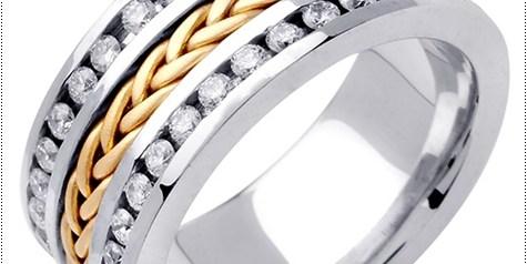 Diamond Braided Wedding Band 14K Two Tone Gold