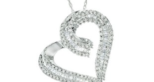 Diamond Heart Pendant in 10K White Gold