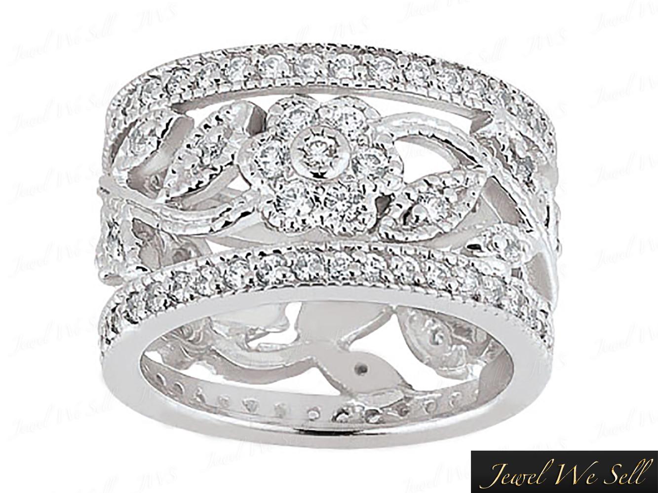 wide wedding bands 2 25Ct Round Diamond Wide Flower Anniversary Eternity