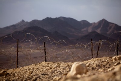 View of the Israeli-Egyptian border next to the southern city of Eilat