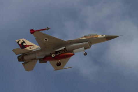 Israeli F-16 fighter jet in action.