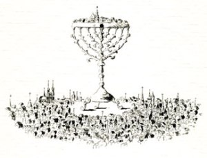 Touching Heaven (1981) pen and ink by Mark Podwal Courtesy Yeshiva University Museum