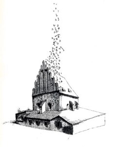 The Old New Synagogue (1980) pen and ink by Mark Podwal Courtesy Yeshiva University Museum