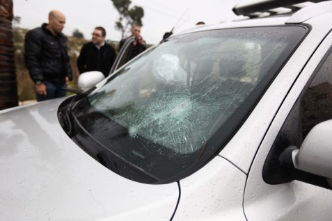 .A car attacked by haredim in Beit Shemesh