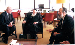 Madrid's vice mayor with Rabbi Elyakum Schlesinger and Jules (Yitzchok) Fleischer.