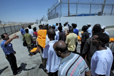 Sudanese refugees at Ketziot Detention Camp