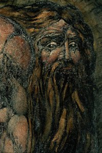 William Blake. Detail of Nebuchadnezzar. C. 1795. Monotype finished in black chalk, pen and watercolor, coated with gum or size. Museum of Fine Arts, Boston.