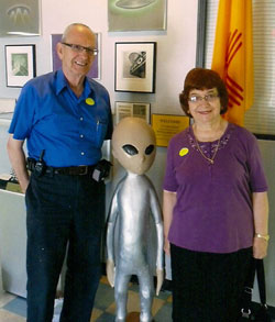 Dov and Barbara and a visitor from outer space.