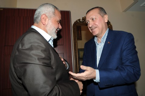Hamas leader Ismail Haniyeh (L) and Turkish Prime Minister Recep Tayyip Erdogan shaking hands before their meeting at Erdogan&#039;s residence in Istanbul Turkey