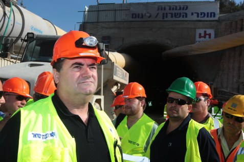 Transportation Minister Yisrael Katz inspecting a rail tunnel
