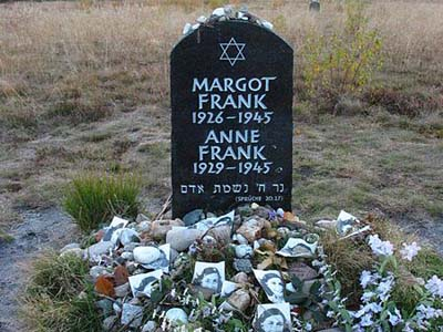 Anne and Margot Frank's memorial in Bergen-Belsen, Germany.