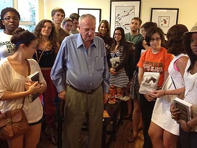 "Leon Schagrin, author of ""The Horse Adjutant"" speaking with students from the University of Miami."