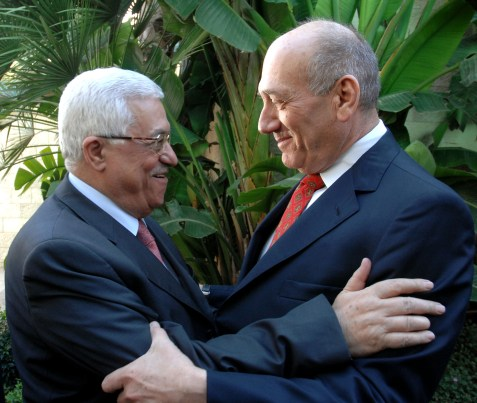 Former PM Ehud Olmert meeting with PA President Mahmoud Abbas