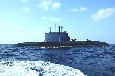 Israeli navy Dolphin-class submarine in the water off the coast of Haifa.