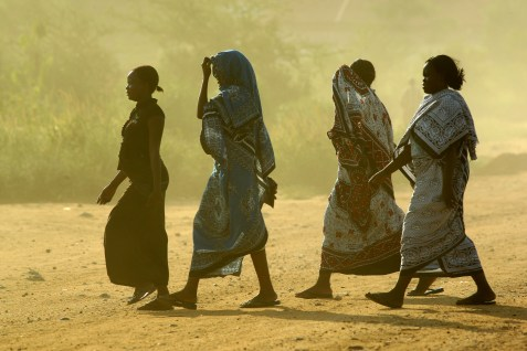 Sudanese women seen walking in Juba, the capital of the Republic of South Sudan.