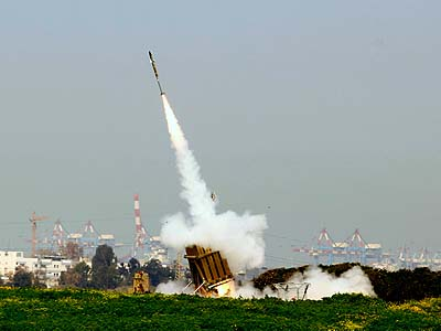 A volley of rockets fired from the Gaza Strip was intercepted by the Iron Dome system near the Israeli town of Ashdod.
