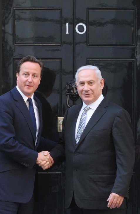 British PM David Cameron meets with Israeli PM Binyamin Netanyahu