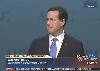 Republican presidential candidate Rick Santorum speaking before AIPAC Tiesday.