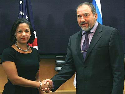 Israel's Foreign Minister Avigdor Liberman with US Ambassador to the UN Susan Rice.