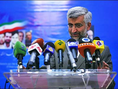 Saeed Jalili, Secretary of Iran's Supreme National Security Council, at a press conference.