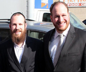 Yidel Perlstein (left) and City Councilman David Greenfield.