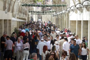 The Mamilla open-air mall stands adjacent to the western entrance of Jerusalem's Old City at Jaffa Gate. In a few short years it has become a popular shopping and dining destination. It was packed on Passover 5772.