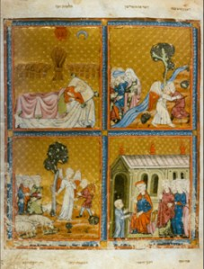 "Golden Haggadah, fol. 4v, (ca.1320-1330) illuminated manuscript, London, British Library. Courtesy ""The Medieval Haggadah"" by Marc Michael Epstein. Yale University Press, 2011"