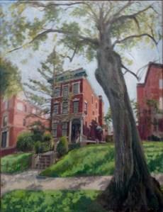 Rebbe's House (2002), oil on linen by Robert Feinland. Courtesy Chassidic Art Institute