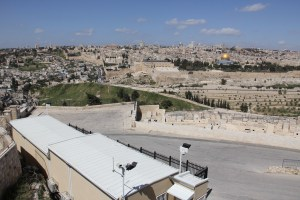 The new police station on the Mount of Olives facing west, towards the Old City and the Temple Mount.