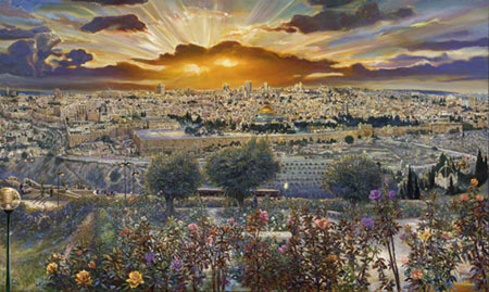 Ruth Mayer&#039;s painting of Jerusalem.   Credit: RuthMayer.com