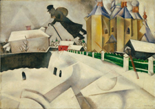 "Marc Chagall. Over Vitebsk. 1915-20. Oil on canvas.	 26 3/8 x 36 1/2"" (67 x 92.7 cm).  The Museum of Modern Art."