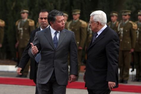 King Abdullah of Jordan meets with PA President Mahmoud Abbas in 2012.