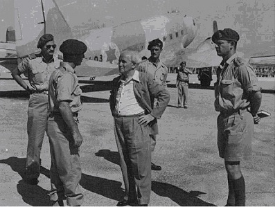 Machalniks at Ramat David Air Base (Bill Katz far left, Ben Gurion, Derek Bowden behind Ben Gurion, Chaim Laskov, Head of Training Command  of Army, far right)