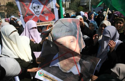 Protests against former Libyan dictator Muamar Gaddafi