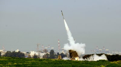 The Iron Dome anti-missile system in action