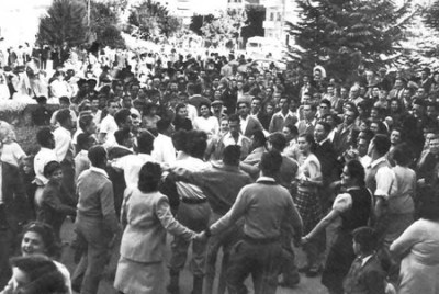 Jews dancing in the streets of Israel upon its declaration of independence