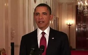 President Obama announcing the killing of Obama bin Laden