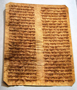 "First half of the 14th century. Leaf from a manuscript copy of Genesis 42:35 to 43:12. (""Membrum disjectum,"" or disjointed element.) Photo by Menachem Wecker."