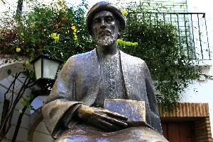 A statue of the revered Torah Sage, Rabbi Moshe Ben Maimon, known as the Rambam  or Maimonides, in Cordova, Spain