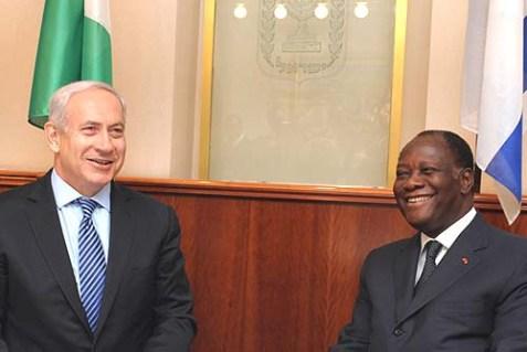 Israel's Prime Minister Benjamin Netanyahu (L) met with Ivory Coast President Alassane Ouattara in Jerusalem.